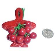vintage Bakelite Basket Full of Cherries Pin Brooch