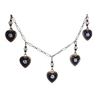 Sweet Delicate Vintage Copper & Enameled Tiny Hearts Necklace