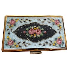 Gorgeous Floral Elgin American Compact Nessessaire with Moire Bag