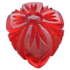 Gorgeous Red Prystal Bakelite Carved Flower Floral Dress Clip Pin