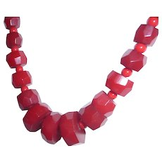 Bakelite Necklace Chunky Red Faceted Beads