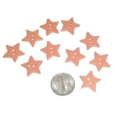 10 Vintage Bakelite Casein Realistic Figural Pink Star Buttons New Old Stock - Red Tag Sale Item