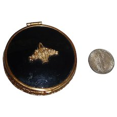 Vintage Mini Powder Rouge Compact Black & Gold with Basket Escutcheon & Faux Pearls Mint