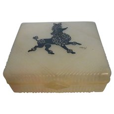 Vintage Plastic Cosmetic or Trinket Box with POODLE MOTIF