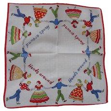 Vintage Childs Novelty Handkerchief Hanky Square Dancing Hands Around