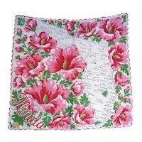 Vintage Souvenir Florida State Hanky Handkerchief Sunshine State Hibiscus w/tag