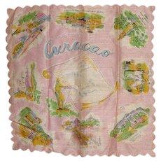 Vintage Rare Souvenir Hanky Curacao Handkerchief