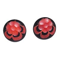 FaB! Bakelite XL Cast Earrings Black Carved to Red Flowers Pansies Clip On