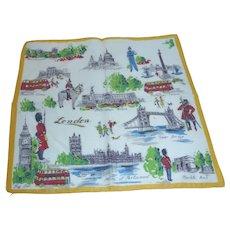 Vintage City of London Hanky Handkerchief Souvenir Tourist Attractions Famous Places