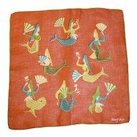 Vintage Designer Tammis Keefe Hanky Handkerchief Mermaids
