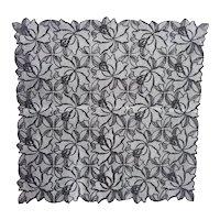 Rare Vintage Black Floral Lace Mourning Hanky Handkerchief