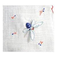 Unusual Vintage Handkerchief Hanky with 4 Puffy Applique Bees