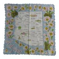 Vintage Printed Cotton ARIZONA Souvenir Hankie Handkerchief