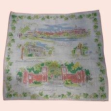 Rare Vintage Cotton Novelty Souvenir Hanky Handkerchief HARVARD UNIVERSITY Buildings