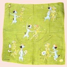 Vintage Cotton JEANNE MILLER Novelty Hankie Handkerchief Comical Poodles