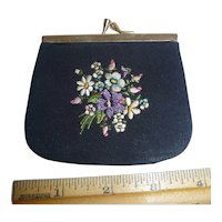 Gorgeous! Vintage Petit Point Black Silk Leather Lining Coin Purse Pristine
