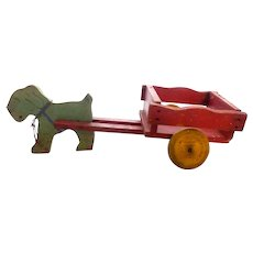 Vintage Child's Wooden Wood Toy Scotty Dog Pulling Cart