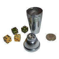 Tiny Chrome Cocktail Shaker with Small Bakelite Dice Japan Casino Bar Game