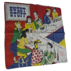 Fun Picture Vintage Hankie Sweet Stuff 1950s Teens at the Soda Shop Signed TEL