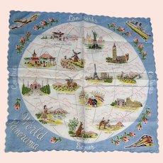 Fun Picture Vintage Novelty Hankie Hanky Landmarks & Scenes World Panorama