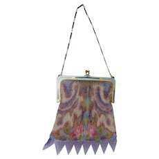 Whiting & Davis Colorful Floral Dresden Watercolor Fine Mesh Purse