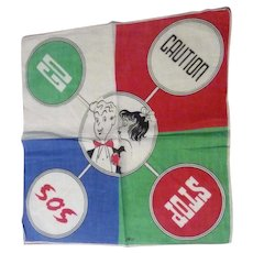Vintage 1950s Novelty Hankie Hanky Traffic Signs & Going to the Prom Signed TEL Tom Lamb
