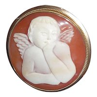 Sweet Angel Cherub Carved Cameo Set in 14K Gold Pin Pendant Marked Italy