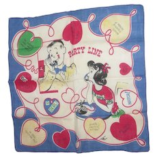 Vintage Hankie Hanky Party Line and Hearts  Signed TEL 1950s