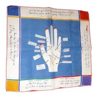 Vintage Hankie Hanky Handkerchief Palm Reading