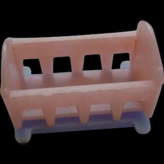 Vintage Plastic Cracker Jack Gum ball Toy Charm 2 Color Baby Doll's Crib Cradle