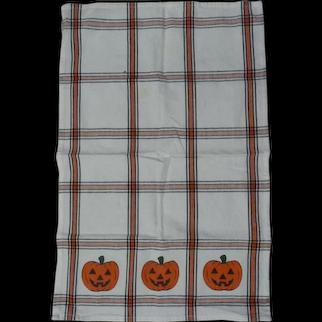 Vintage Cotton HALLOWEEN Pumpkin  JOL Holiday Kitchen Towel