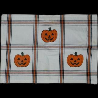 6 Vintage Cotton HALLOWEEN Pumpkin JOL Holiday Placemats