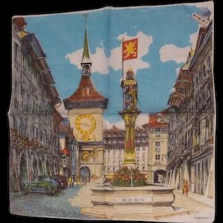 Vintage Kreier Picture Hanky Bern Switzerland
