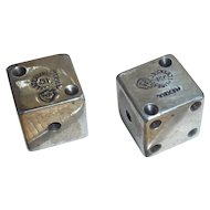 Pair Sterling Silver Dice Mexico Marked
