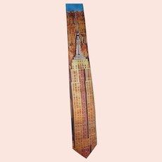 Vintage Mens Collectable 1991 Ralph Marlin Empire State Building Novelty Necktie Unused Excellent Condition