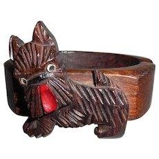 Vintage Carved Wood Wooden Scotty Scottie Dog Clamper Hinge Bracelet