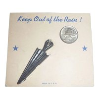 Vintage Bakelite or Celluloid Umbrella Charm Mint on Card