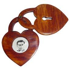 Rare WWll Bakelite Heart Shaped Locket Pin Brooch Pendant Opens