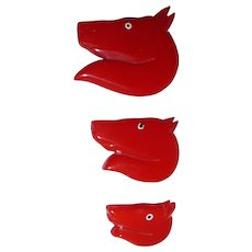 Fab! Vintage 3 Red Bakelite Horse Head Pins Brooches 3 sizes