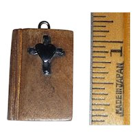 Wood Wooden Bible Charm Pendant with  Bakelite Cross & Heart