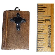 Wood Wooden Bible Charm Pendant with  Bakelite Cross & Heart