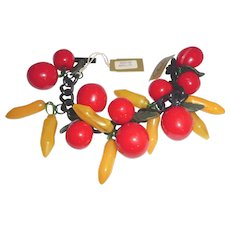 Miriam Haskell Cherries & Bananas Fruit Salad Bakelite Bracelet Mint Unworn with Original Tags