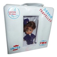 Rare Vintage Debbie Traveller Stewardess Doll & Case Little Kiddle Airlines TWA United Eastern