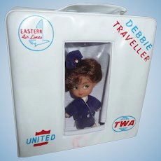 Rare Vintage Debbie Traveller Stewardess Doll & Case Little Kiddle Airlines TWA United Eastern