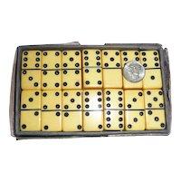 Mini Bakelite Dominoes Original Box Cream Corn & Black Game Pieces