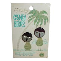 2 Figural LuckyDay Tropical Gooney Bird Buttons on Original Card with Palm Tree ... Great Graphics!