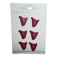 6 Black Cherry Red Harp Bakelite Buttons on Ultra Kraft Card Figural Realistic Goofy