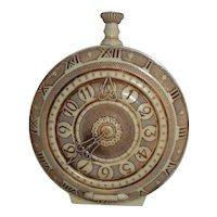 Vintage Art Deco Cream Celluloid Ornate Figural Pocket Watch Clock Shaped Band Box