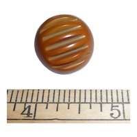 Large Vintage Bakelite Ball Button Olive Green Deco Carved