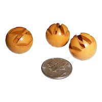 3 Bakelite Art Deco Geometric Carved Ball Buttons